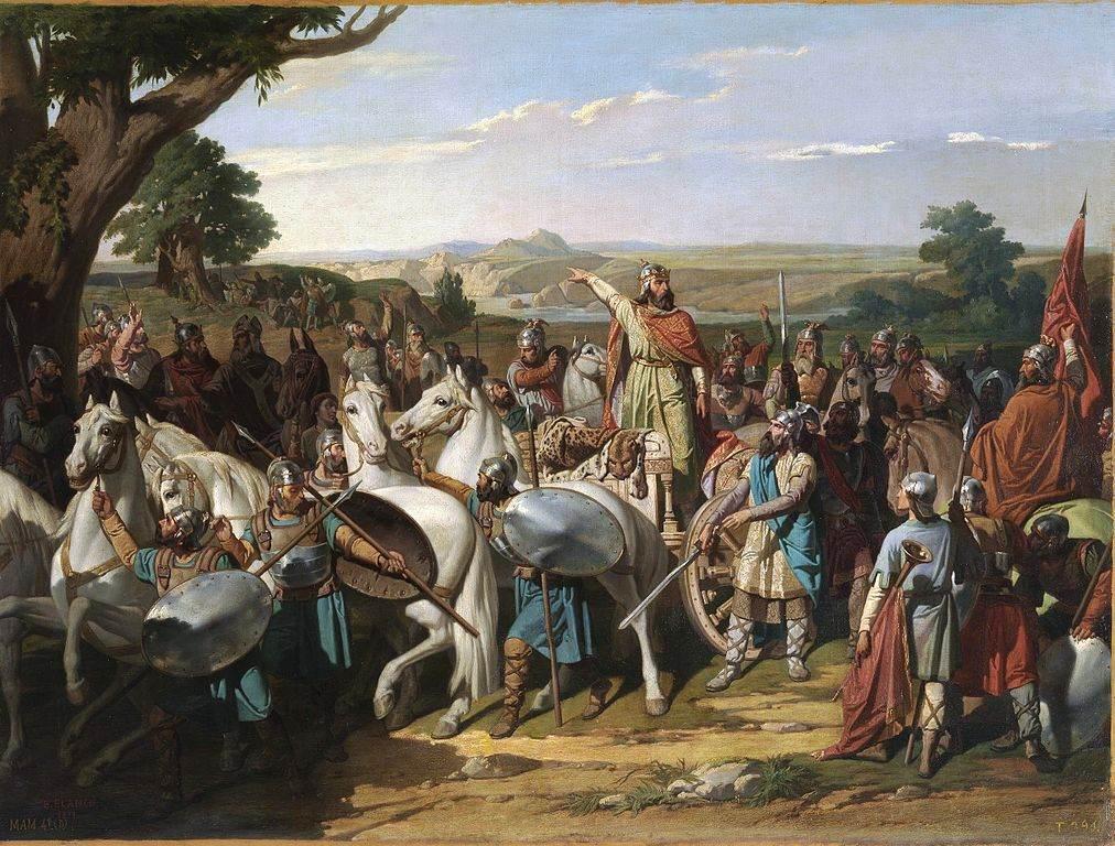 El Rey Don Rodrigo arengando a sus tropas en la batalla de Guadalete by Bernardo Blanco y Pérez (1871)