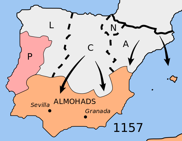 Extent of the Reconquista into Almohad territory as of 1157.