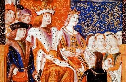 Ferdinand and Isabella with their subjects