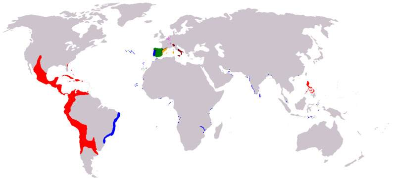 The realms of Philip II of Spain
