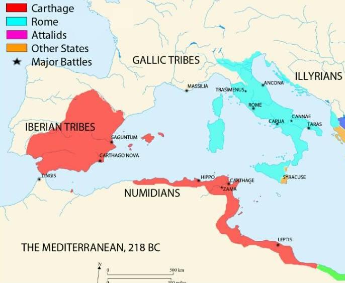 The western Mediterranean in 218 BC