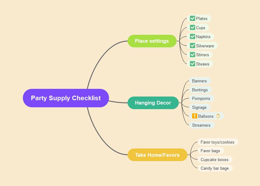 Party Supply Checklist